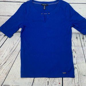 women's ellen tracy royal blue t shirt medium with